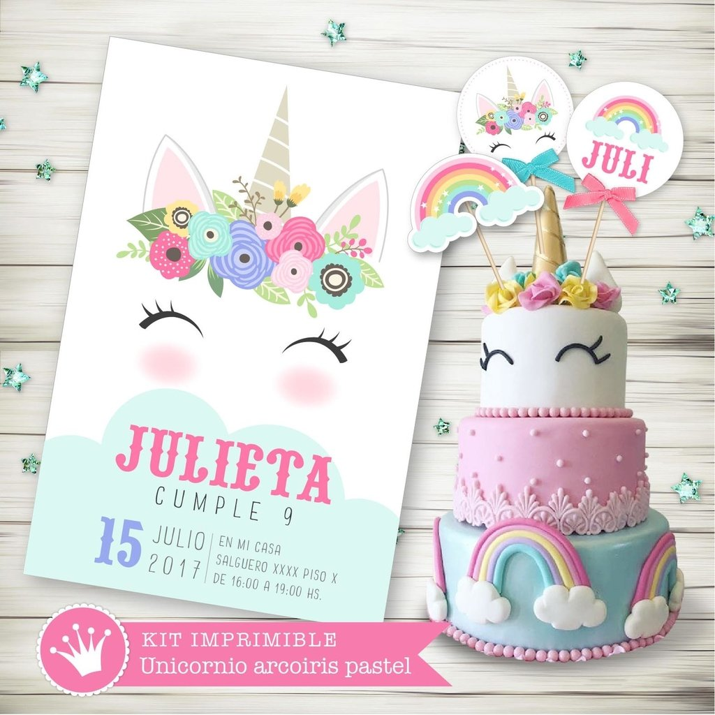Kit imprimible unicornio pastel for Diseno de mesa de unicornio