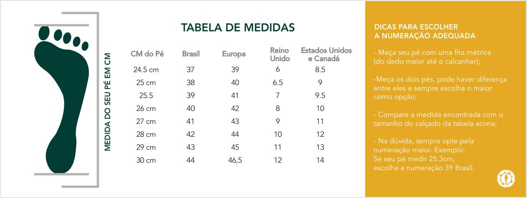 Loja Latittude Calçados Masculinos - Tabela de Medidas