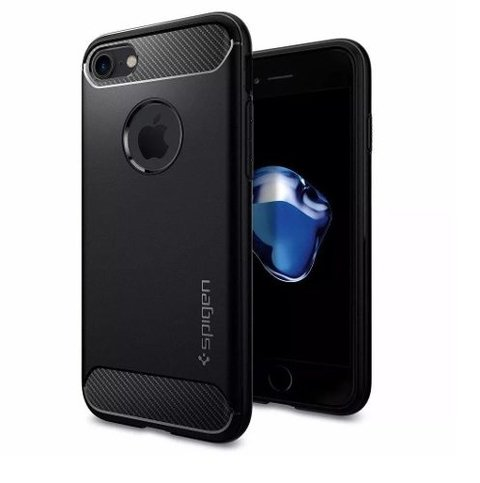 Funda Spigen Original Rugged Armor Iphone 7 +vidrio Templado