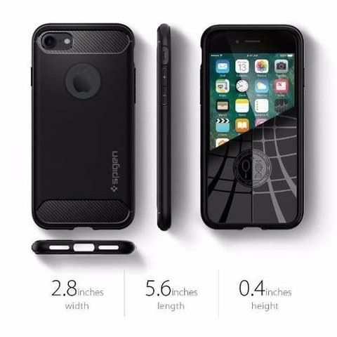 Funda Spigen Original Rugged Armor Iphone 7 +vidrio Templado - ONCELULAR