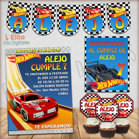 Kit Imprimible Hot Wheels Decoración + Candy Bar Nenes