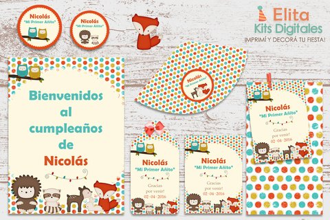 Kit Imprimible Animalitos del Bosque - comprar online
