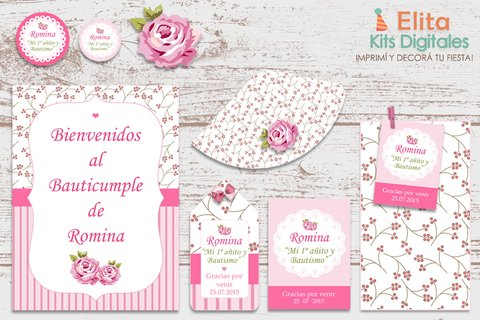 Kit Imprimible Shabby Chic Rosa - comprar online