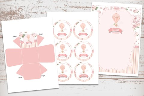 Kit Imprimible Globo Aerostático Shabby Chic Rosa - Kits Imprimibles - Elita Kits Digitales