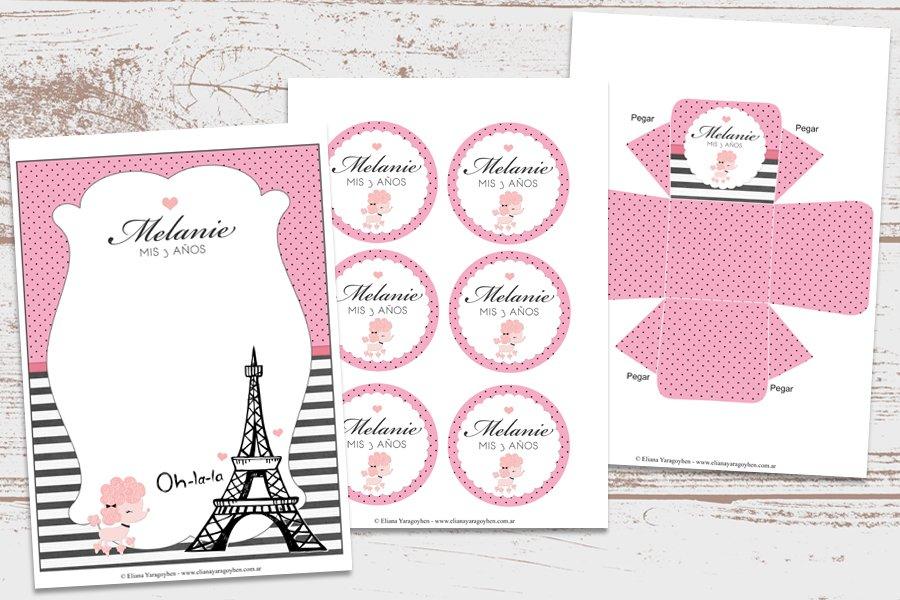 Kit Imprimible París Torre Eiffel Decoración Fiesta De