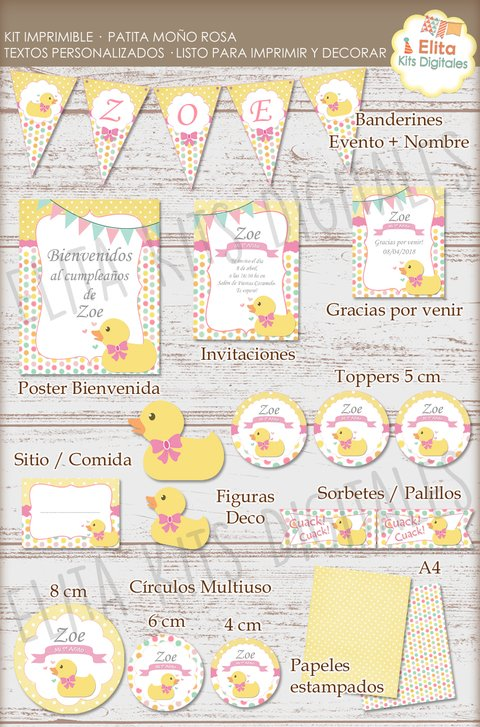 Kit Imprimible Patita Moño Rosa Decoración + Candy Bar - comprar online
