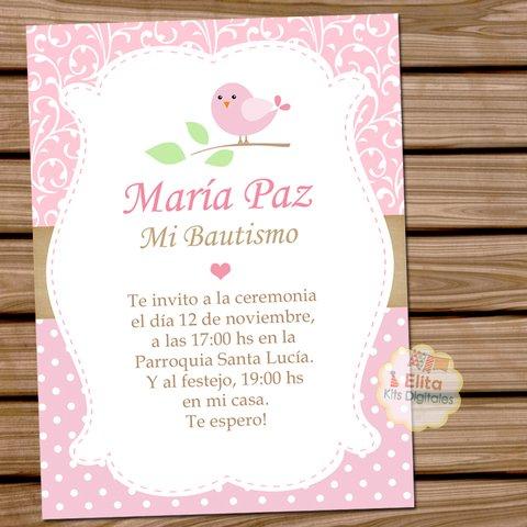 Kit Imprimible Decoración Bautismo Niñas Pajarito Rosa Shabby Chic