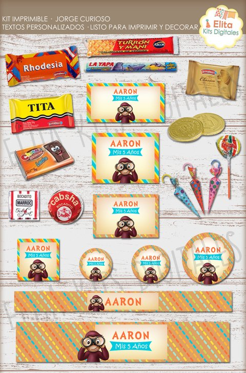 Kit Imprimible Jorge Curioso Decoración + Candy Bar cumpleaños Nenes Nenas en internet