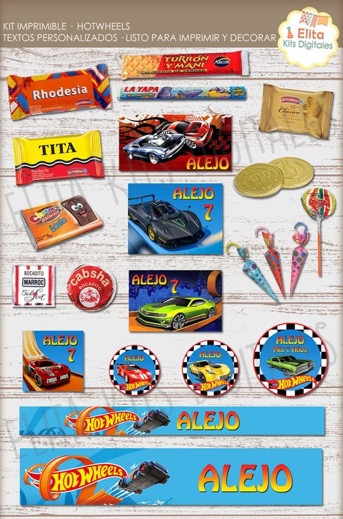 Kit Imprimible Hot Wheels Decoración + Candy Bar Nenes en internet