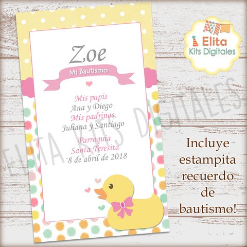 Kit Imprimible Patita Moño Rosa Decoración + Candy Bar - Elita Kits Digitales