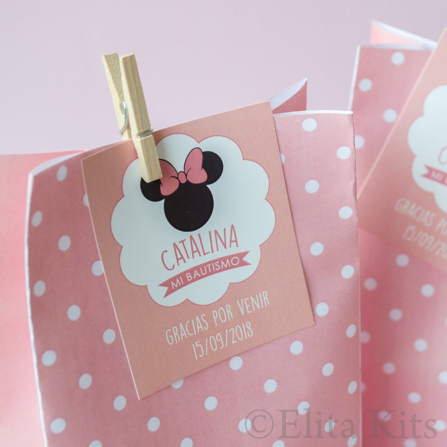 Kit Imprimible Minnie Mouse Silueta Moño Rosa Decoración