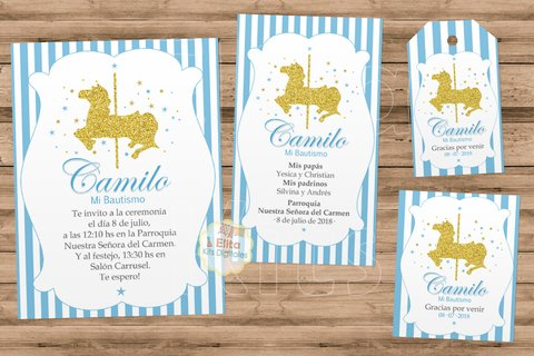 Kit Imprimible Caballito Carrusel Glitter 1 Añito, Bautismo, Baby Shower - comprar online