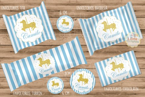 Kit Imprimible Caballito Carrusel Glitter 1 Añito, Bautismo, Baby Shower en internet