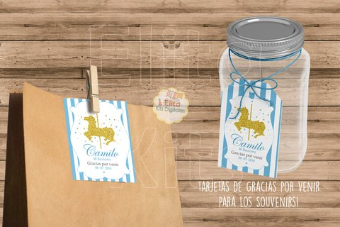 Kit Imprimible Caballito Carrusel Glitter 1 Añito, Bautismo, Baby Shower