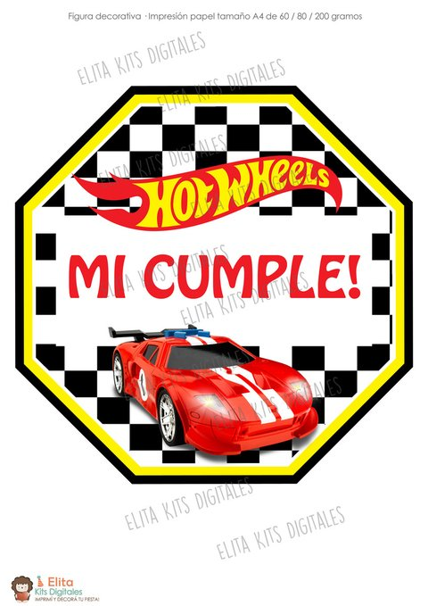 Kit Imprimible Hot Wheels Decoración + Candy Bar Nenes - comprar online