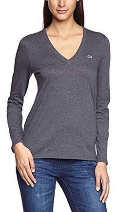 Lacoste Remera Mujer Mangas Largas Escote En V Tf6445