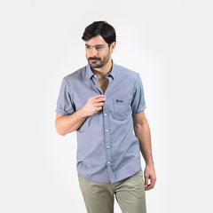 Camisa Oxford Polo Club Hombre Mangas Cortas Bronze Navy
