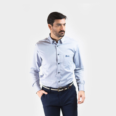 Camisa Oxford Polo Club Manga Larga Hombre Fantasy Celest
