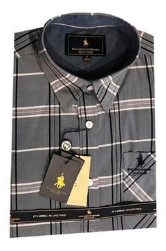 Camisa Polo Club Seattle Cuadros Gris Y Negro