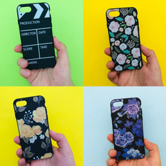 Funda TPU Negra Floral - iPhone