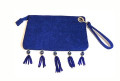 Blue Lalah clutch with cloisonne pendants and glass beads