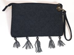 Lalah Clutch in jeans and silver glass bead pendants