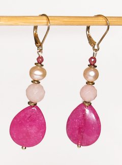 April Earrings with pink jade drop and light pink pearl