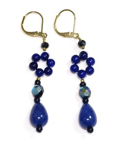 Camila earrings, blue crystals and natural stones