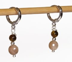 Diana small white rhodium ring earrings with moon stone and tiger eye pendant