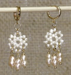Frufru little ring Earrings with pearls and golden elements