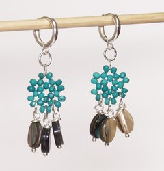 Frufru little ring Earrings with turquoise and abalone