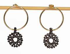 Hannah ring earrings with crystal pendant