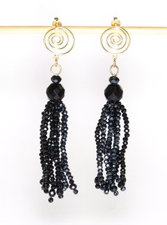 Helena earrings black and dark gray crystals