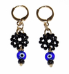 LULU EARRINGS WITH SPINEL MANDALA, ONYX AND GREEK EYE PENDANT