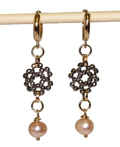 Patrícia earring with minimalist ring, faceted hematite pendant and pink pearl