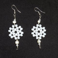Sakura earrings  white crystals and pearl pendant