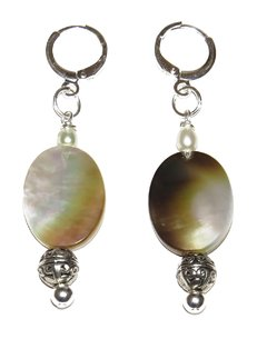 Sabrina earrings with abalone, pearl and silver elements