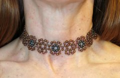 Mimosa Choker Czech silver and gilt porcelain on internet