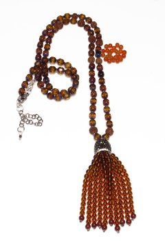 Alice necklace in crystals, agate, jasper, rudraksha and hematite