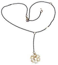 Bia necklace with citrine pendant, moonstone and golden elements and black rhodium chain