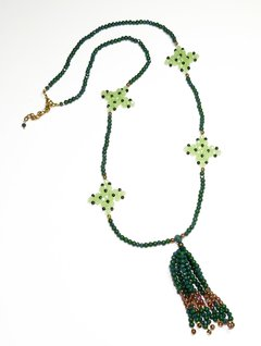 Barroco necklace , Green crystals and Czech porcelains