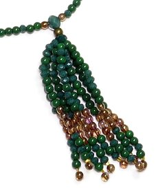 Barroco necklace , Green crystals and Czech porcelains - buy online