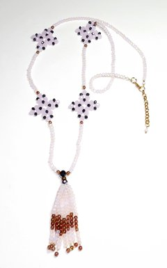 Barroco Necklace pink and lilac crystals and Czech porcelain - buy online