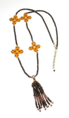 Barroco necklace - brown crystals and orange beads - Susi Pê Acessórios Exclusivos