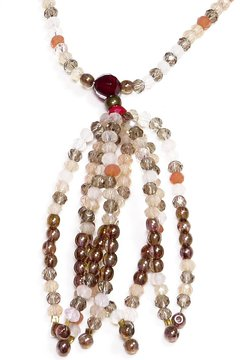 Multicolor Barroco necklace, Czech crystals and porcelain - buy online