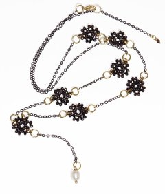 Bibelô long necklace with crystals, black rhodium chain, golden elements and baroque pearl pendant - buy online