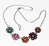 Blossom necklace with tourmaline, tourquoise, garnet and crystal, white rhodium chain