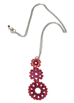 Bubble Necklace with red, burgundy and orange jade beades and a white rhodium chain