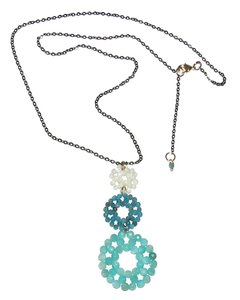 Bubble necklace with amazonite, cyanite and mother of pearl pendant and black rhodium chain