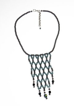 Cleopatra Necklace dark grey Crystals